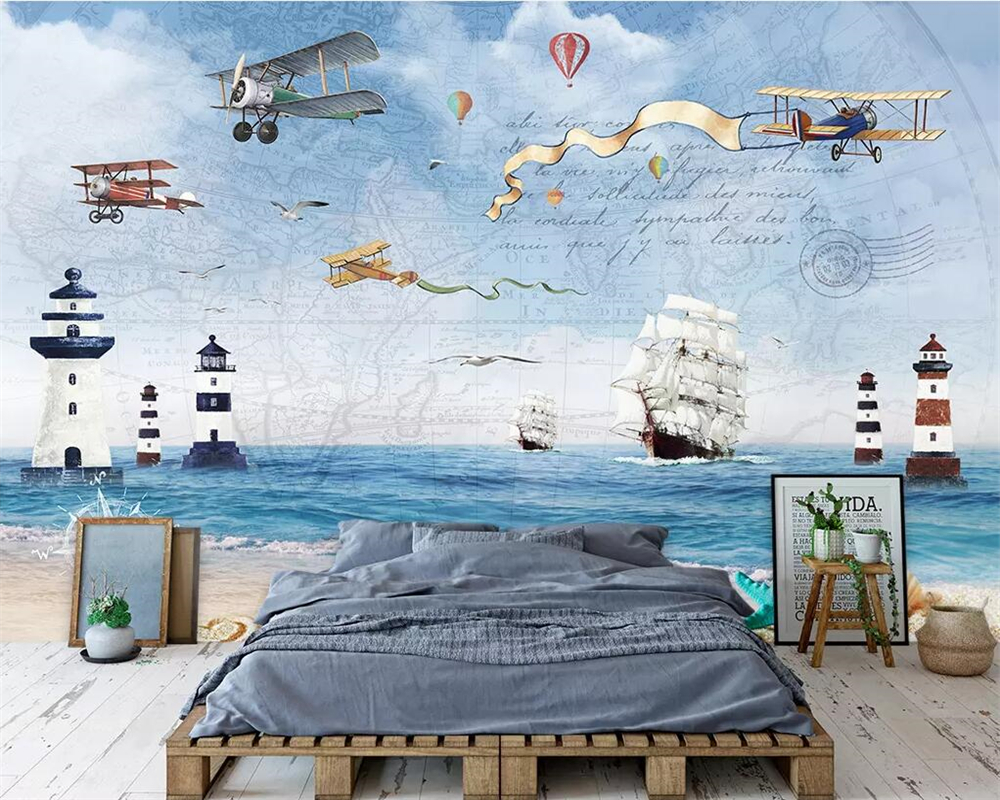 Beibehang Custom wallpaper photos airplane sailing sea TV background wall home decoration living room bedroom mural 3d wallpaper image