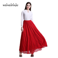 Summer Skirts Womens 2017 Chiffon Boho Ladies Long Pleated Trumpet Skirt Casual Clubwear Beach Bohemian Beach