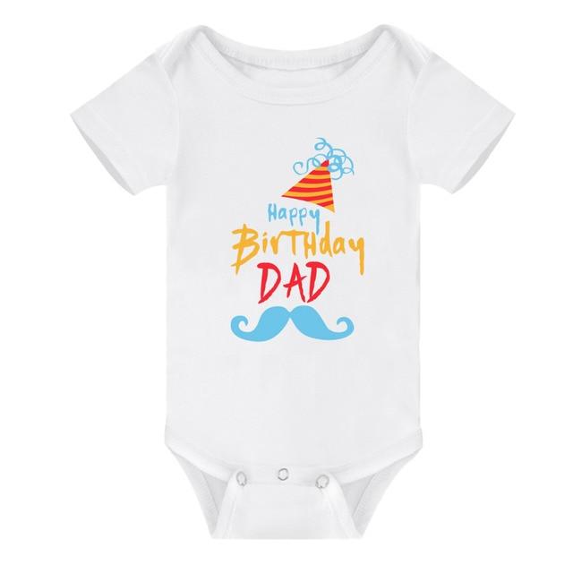 Newborn Infant Baby Boys Outfits Happy Birthday Dad Grandpa Hat Pattern Soft Cotton Short Sleeve Summer