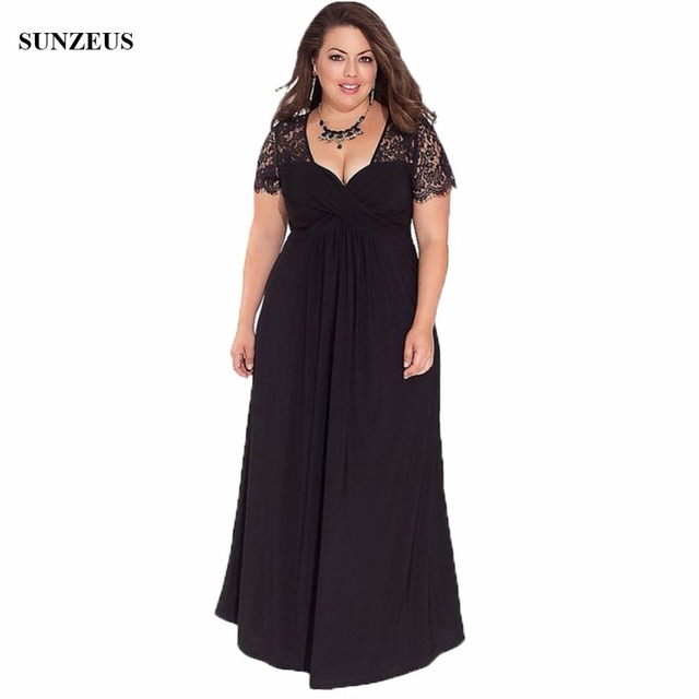 Lace Cap Sleeve Empire Mother Of The Bride Dress Plus Size Black ...