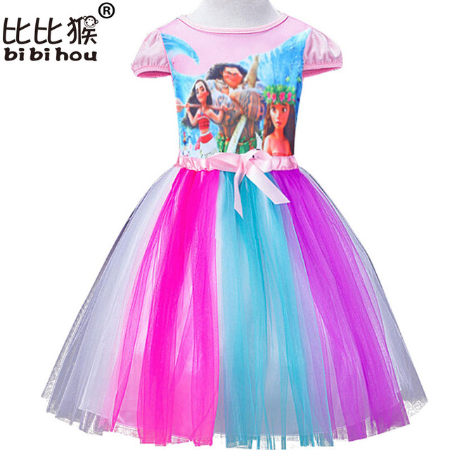 692884828 Bibihou First Birthday Girls Clothing vaiana Summer Princess Girls Clothes  Moana Cartoon Tulle Tutu Dresses Rainbow