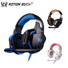 High quality Kotion EACH G2000 Deep Bass Gaming Headset Earphone Headband Stereo Headphones with Mic LED Light for PC Gamer binmer futural digital g800 stereo surround gaming headset headband micheadphone high quality f25