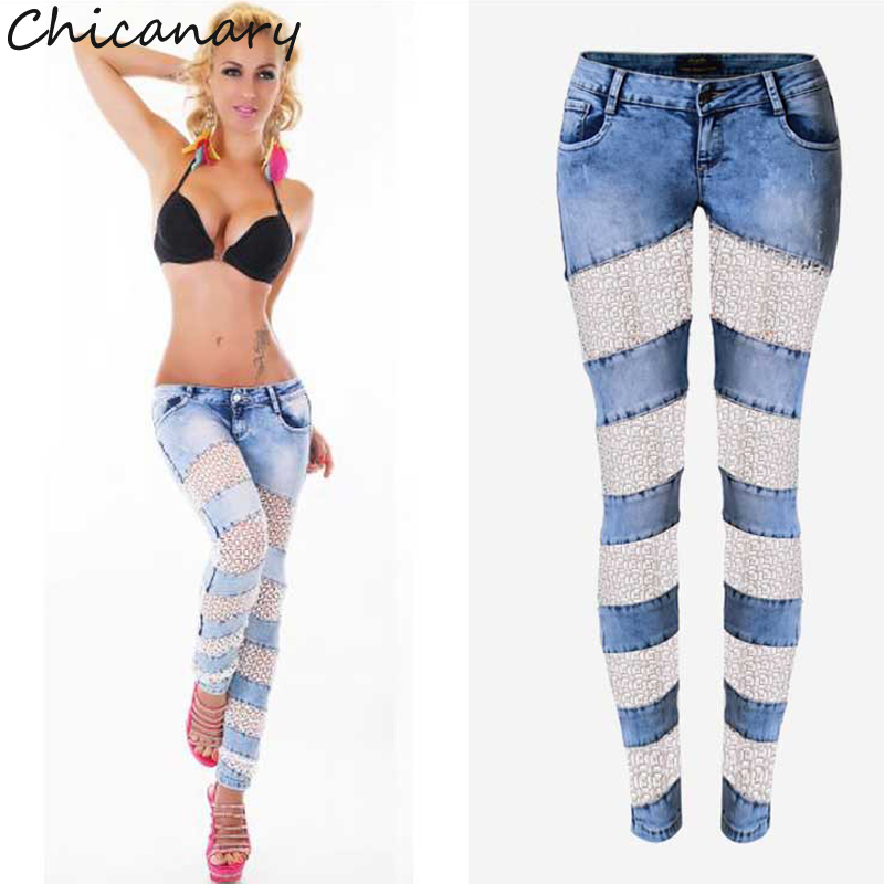 Europe Fashion Hollow Out Lace Splicing Low Waist Stretchy Denim Jeans Skinny Pencil Pants Women Plus