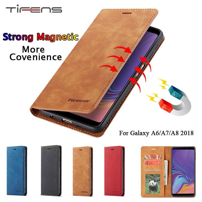 Чехол для Samsung Galaxy A6 A8 A7 2018, роскошный кожаный магнитный кошелек A8 2018, откидной держатель для карт, чехол для телефона, защитный чехол