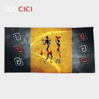 Custom Microfiber Ultra Soft Bath Hand Towel African Decorations Collection African People Carrying Some Local Elements