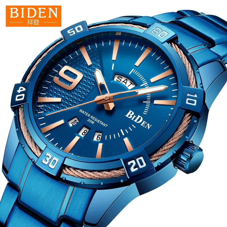 2019 reloj de los hombres BIDEN de deporte de moda de cuarzo relojes para hombre superior de la marca de lujo de negocio Digital resistente al agua reloj hombre reloj Masculino