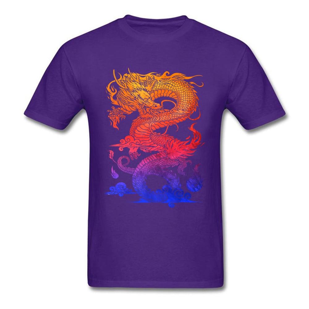 Прочный Шарм Новые мужские футболки Красочные Спортивные футболки китайский дракон и ткань одежда черные рубашки - Цвет: Purple