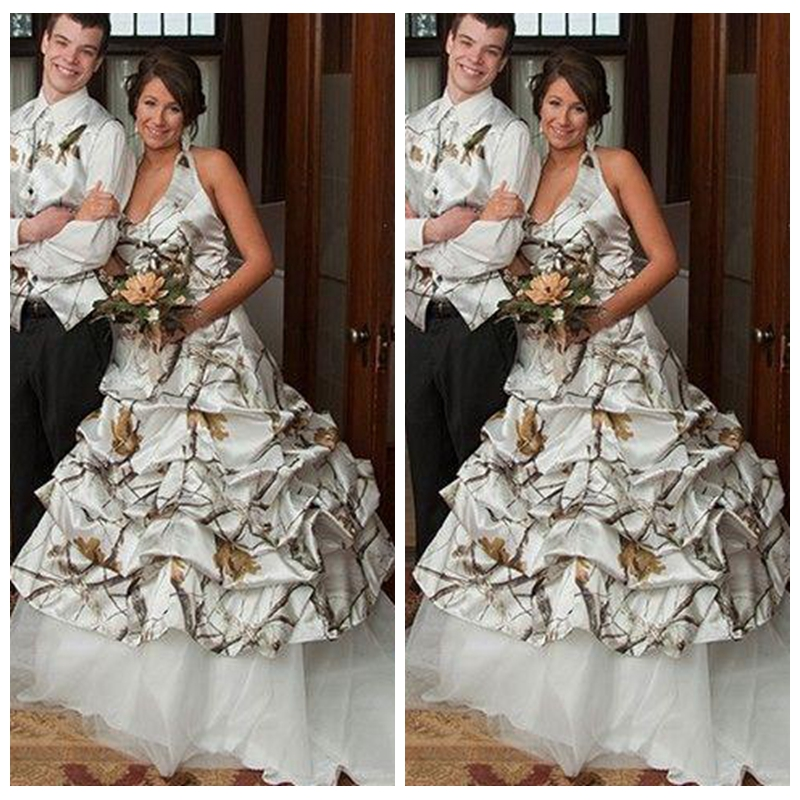 US $140.0 30% OFF|2019 Plus Size White Camo Wedding Dresses Draped Skirt  Tulle Under Skirt Bridal Gowns Camouflage Countryside Vestidos De Novia-in  ...