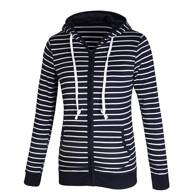 Moda damska Stripes Casual Zipper Bluzy Z Kapturem Kieszeni Kobiety Bluza Plus Rozmiar S-5XL LJ7847R 3