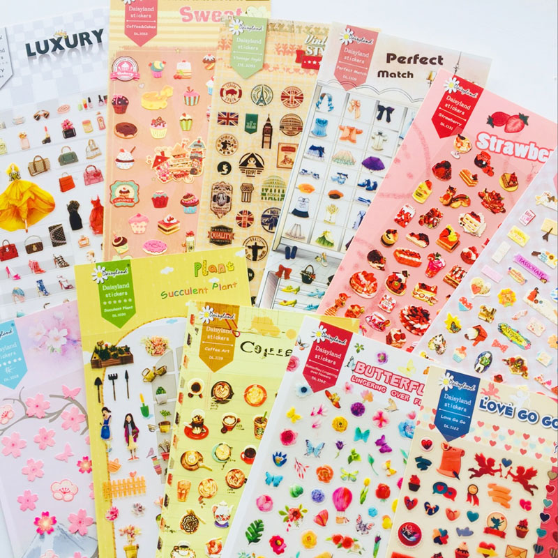1 Sheet Cartoon Daily Adhesive Stickers Stick Label Decoration Stickers Student Office Supply