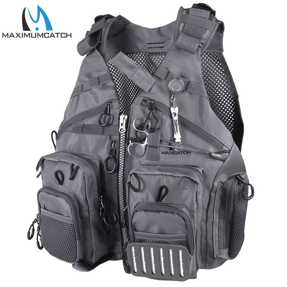 Maximumcatch טוס דיג Vest מתכוונן Mutil-Pocket חבילות & Flatatation Fluatation כרית דיג Vest