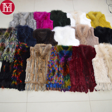 2019 Hot Sale Women Real Rabbit Fur Gilet Coat Real Genuine Rabbit Fur Knitted Vests Tassels Real Raccoon Fur Collar Waistcoat cheap Real Fur HOOK Double-faced Fur REGULAR Slim Sleeveless With Raccoon Dog Fur Collar STANDARD Striped Casual YH32712 100 natural rabbit fur