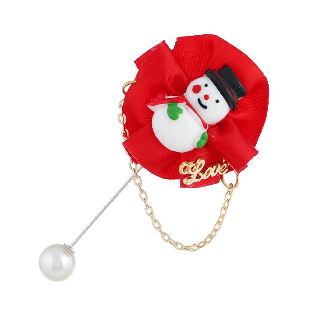Cute White Imitation Pearl Brooch Pins Metal Love Fashion Snowman Christmas Tree Hat Jewelry Bijoux Broches Women Accessories
