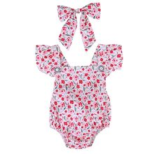 Baby Girl Clothing Outfits Short Sleeve Bodysuit Cute Jumpsuit Sunsuit Newborn Kids Baby Girls Clothes Floral Tops