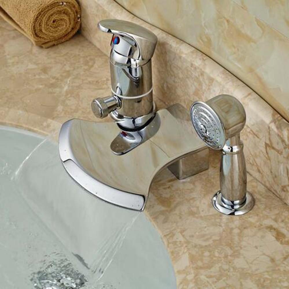 Chrome Polsh One Handle Waterfall Bathtub Mixer Faucet W/ Hand Shower Mixer