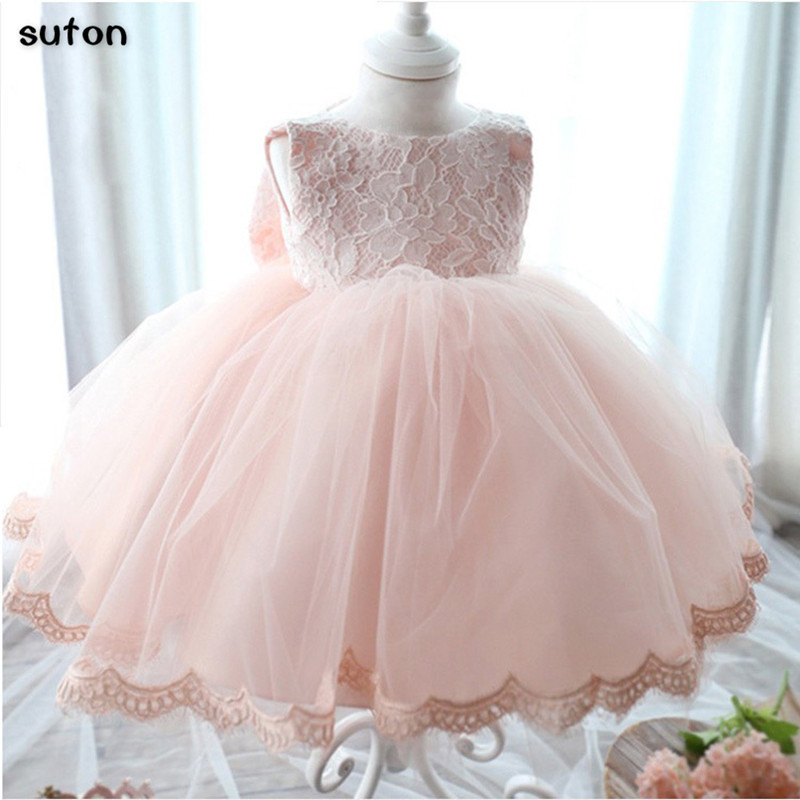 Vintage Flower Girls Dresses Children Party Ceremonies Clothing Princess Baby Girls Wedding Dress Birthday Big Bow Christening