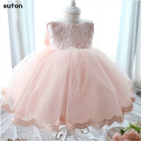 Vintage Flower Girls Dresses Children Party Ceremonies Clothing Princess Baby Girls Wedding Dress Birthday Big Bow
