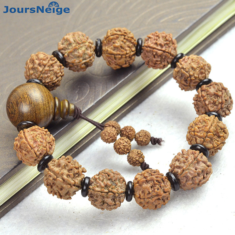JoursNeige KingKong Bodhi Bracciali Sei Valvola Beads Formato 17mm Rotondo Semi di Bodhi Buddha Preghiera Japa mala Legno Bodhi Mano stringa