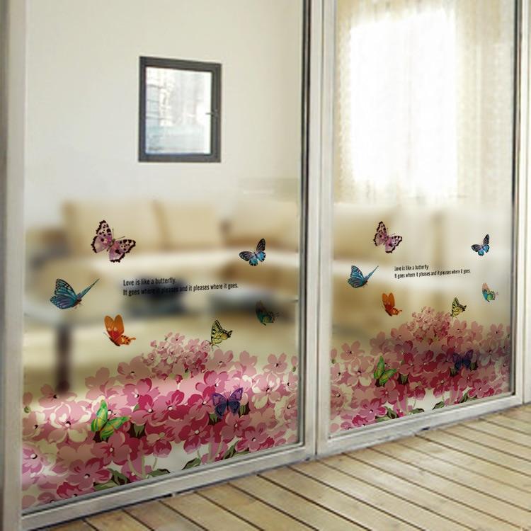 Hot Diy Waterproof Blooming Pink Flower Window Wall Stickers Door Bathroom Wallpaper Home Decor