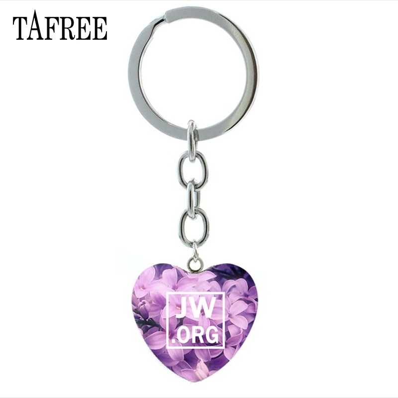 TAFREE JW.ORG Heart-Shaped Pendant Keychain Jehovah's Witnesses Souvenirs Decorative Pendant Key Chain Jewelry JW32