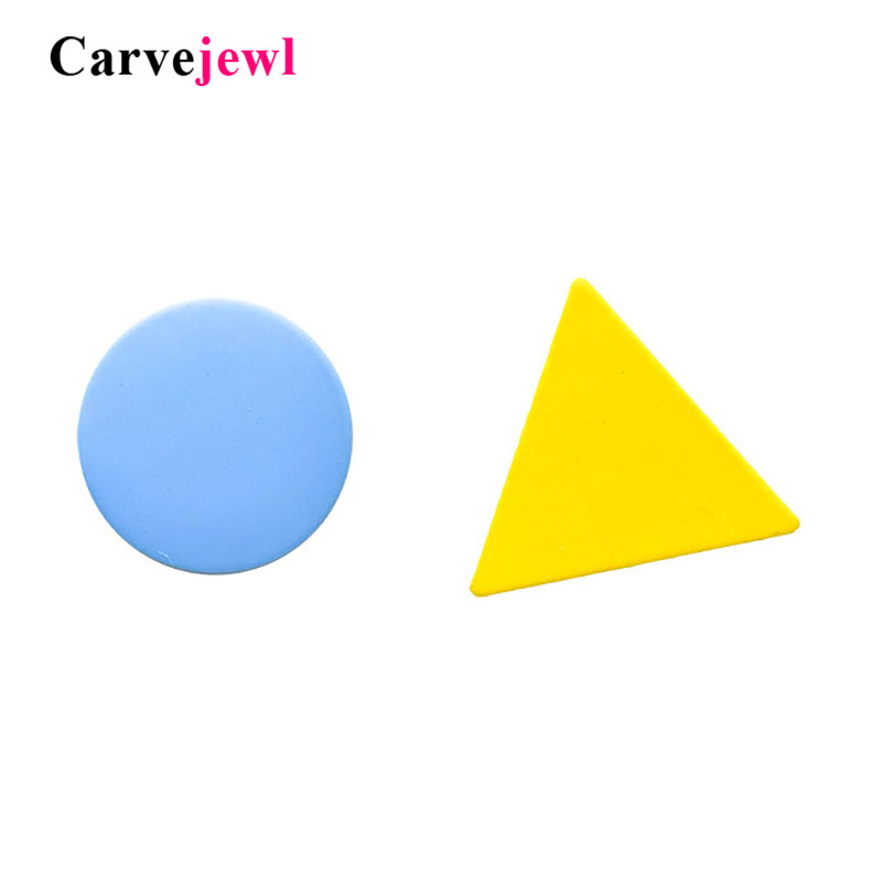 Carvejewl Asymmetric Round Triangle Stud Earrings Women Teen Geometric Brincos Bijoux Fashion Plastic Post Anti Allergy Earrings
