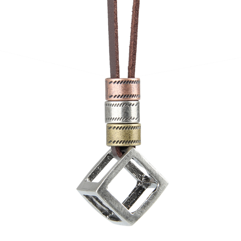 NIUYITID Men Leather Necklace & Pendants Retro Long Black Brown Rope Chain Adjustable Circle Alloy Jewelry Women Neckless (4)
