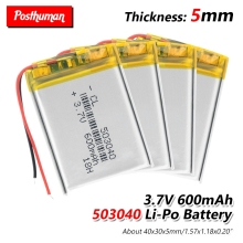 503040 37V 600mAh Rechargeable Lithium Polymer Li-Po li ion Battery For Mp3 MP4 MP5 GPS DVD Toy LED Light Headphone 053040