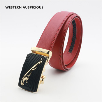 WESTERN AUSPICIOUS mężczyźni pasek skóra bydlęca pasy męskie automatyczna klamra ze stopu pasek mężczyźni czerwona czarna kawa niebieskie brązowe pasy tanie i dobre opinie Dla dorosłych Cowskin Metal 3 5cm Nowość Stałe 8 5cm WAB123 belts cummerbunds tactical belt leather belt men designer belt