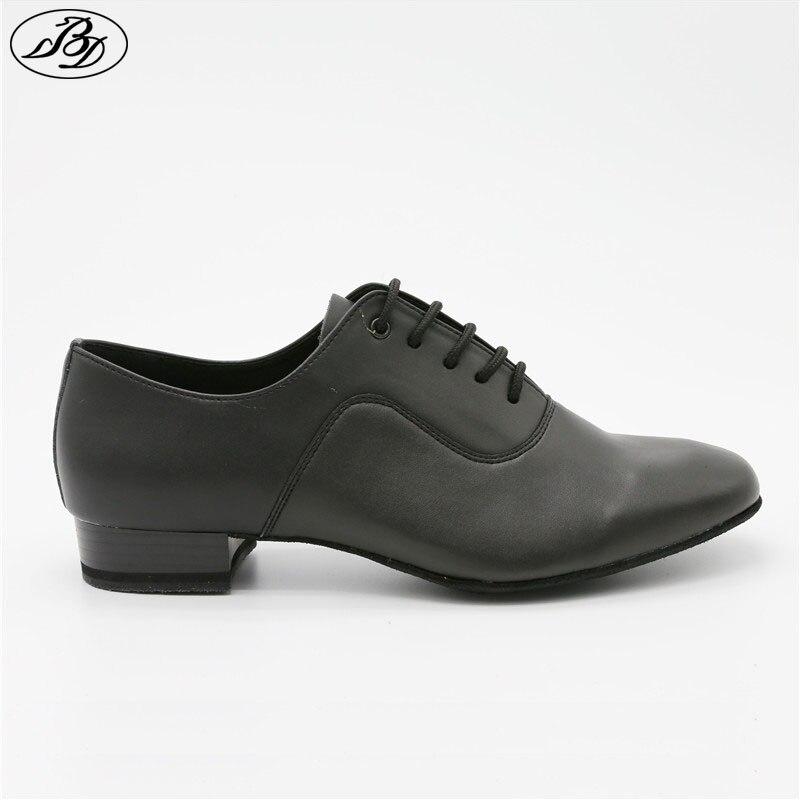 Men Standard Dance Shoes BD 301 Black Whole Sole Ballroom Dance Shoes Cow Split Leather Waltz