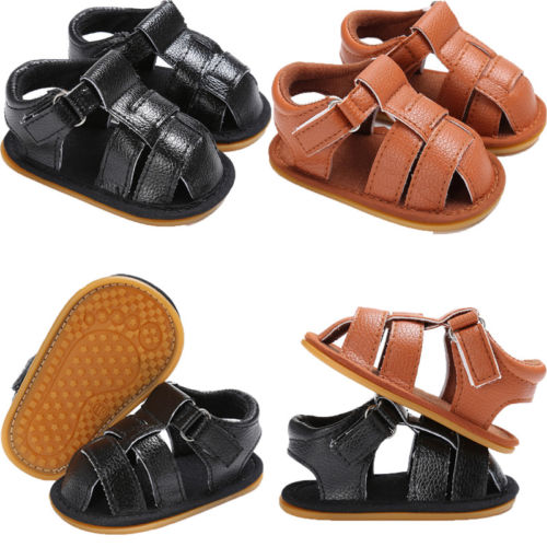 Toddler Baby Boys Leather Sandals Shoes Kids Baby Boy Anti-slip Soft Crib Shoes Baby Boy Casual Shoes