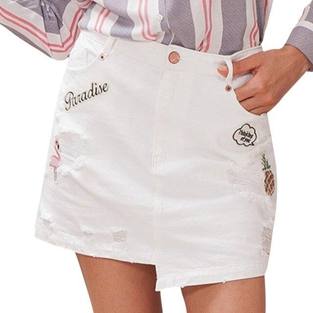 fc9ca9b4c007 2019 Novas Mulheres Verão Moda Casual Cintura Alta Bordado Saia Jeans  Branco Com Furo