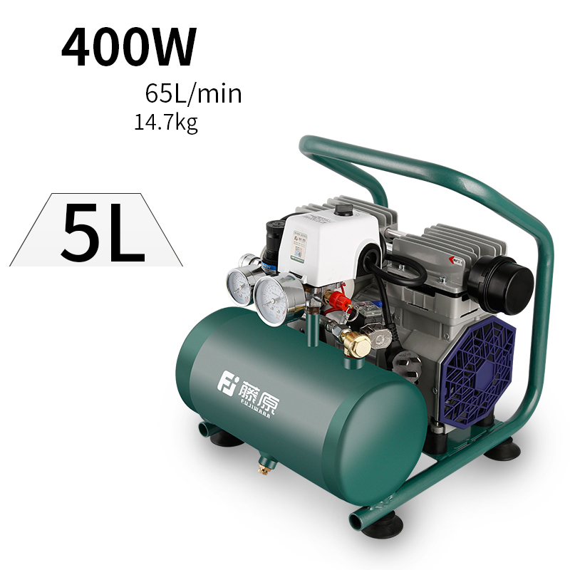 220V Portable small Oil-free air compressor air pump 400W 5L 65L/min 1400rpm Y oil free air compressor high pressure gas pump spray woodworking air compressor small pump 550w9l