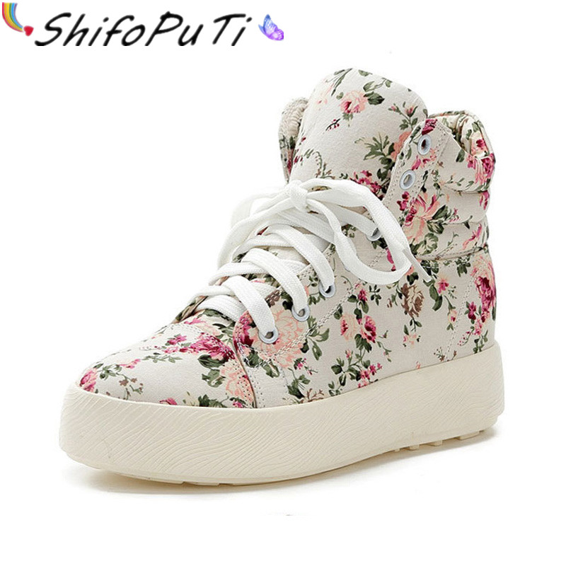 2017 Spring and Autumn Floral Print Flat Heel Canvas Shoes Women's Casual Shoes Women Fashion High Top Ladies Brand Shoes TH073