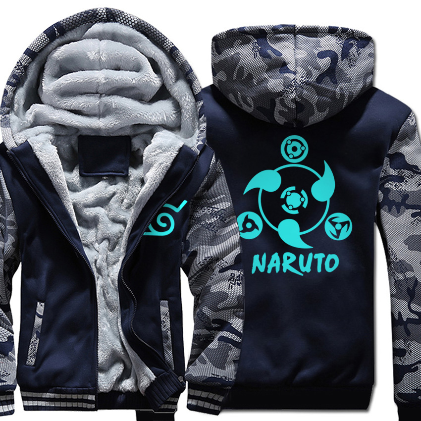 Naruto Thick Zipper cartoon Jacket fashion Men wool liner Sweatshirts Camouflage sleeve Hoodies noctilucous 2019 top tracksuits
