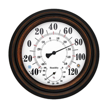 8 Decorative Thermometer Hygrometer Clock for Patio Garden Wall Decor Indoor Outdoor Home Decoration Accessories Gadgets Bronze
