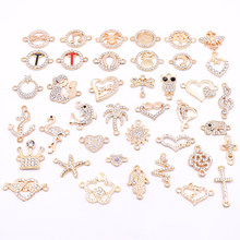 All 10pcs Gold Jewelry Accessories Animal Plant Rhinestone Connectors Charms for Jewelry Making DIY Jewelry Components Wholesale(China)
