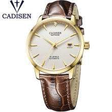 CADISEN Men Watch Brand  Luxury Mechanical Wristwatches Waterproof 50M Genuine Leather Rhinestone Male Clock Relogio Masculino