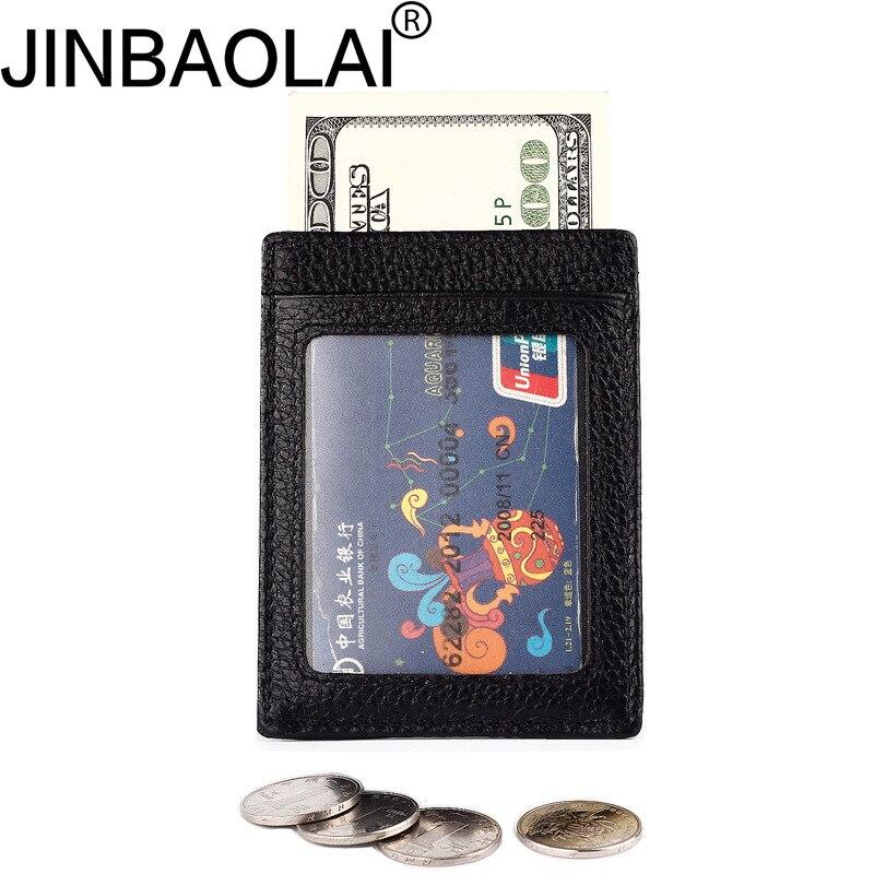 JINBAOLAI High Quality Leather Men Credit Card Holder Wallet Rfid Money Bag Minimalist Porte Carte For Men