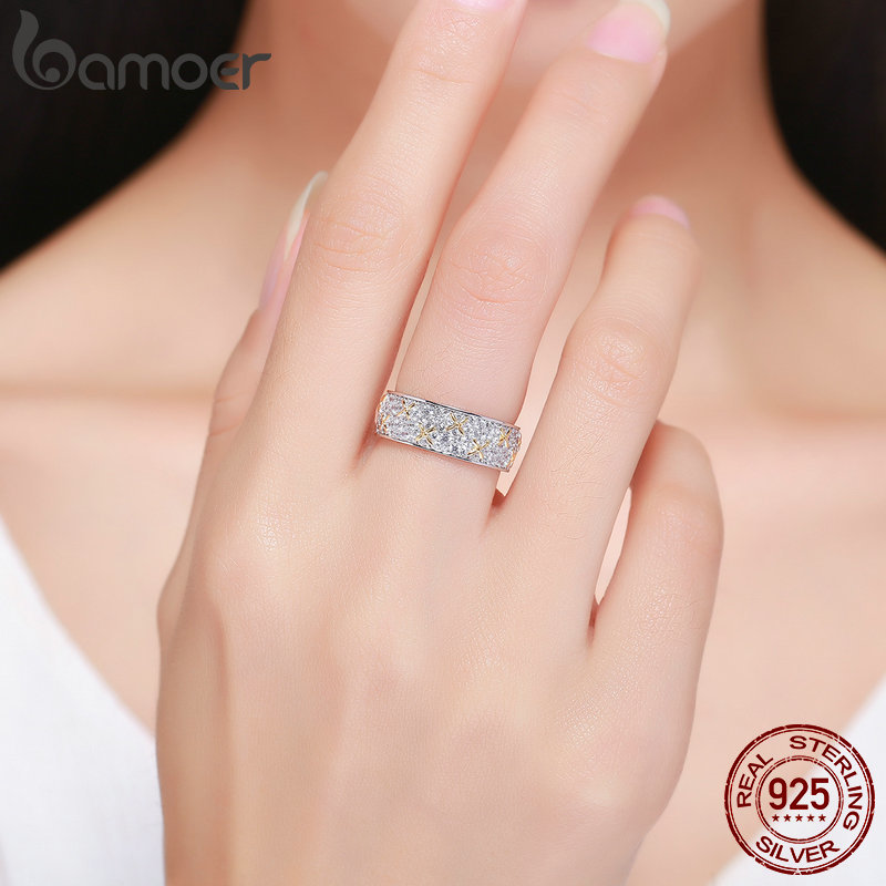 Image 5 - BAMOER Real 100% 925 Sterling Silver Luminous CZ Firefly Lightning Bug Finger Rings for Women Cocktail Engagement Jewelry SCR241-in Rings from Jewelry & Accessories