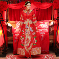 New Red Lady Classic Marriage Dress Suit Floral Embroidery Chinese Style Bride Wedding Cheongsam Elegant Evening Gowns S XL
