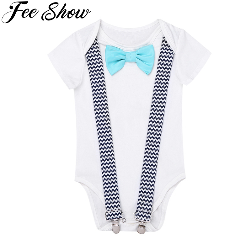 Newborn Infant Baby Boys First Birthday Romper Short Sleeves Clothes Bow Tie Suspenders Baby Overall Body For Baby Boy Clothes 3pcs set newborn infant baby boy girl clothes 2017 summer short sleeve leopard floral romper bodysuit headband shoes outfits