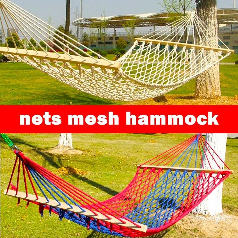 Vacances ensoleillé coton corde filets maille hamac extérieur bois camping balançoire armée simple/double hamac décontracté 150 kg portant lit bébé