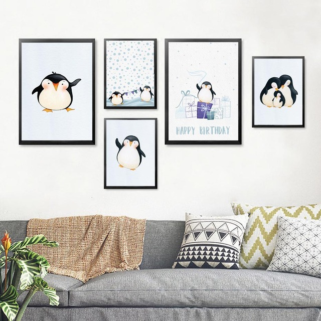 Penguin Poster Cute Cartoon Animals Penguins Canvas Painting  1