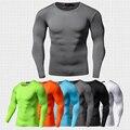 Nueva llegada de secado rápido camisa de manga larga camiseta más el tamaño de la aptitud de compresión colorquick clothing sólido seco bodybuild crossfit