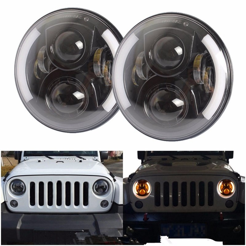 2x7'' Inch LED Headlight With Halo Angel Eyes For Lada 4x4 urban Niva For Jeep JK Land rover defender For Hummer Led Headlamp 2psc 7 inch led headlight h4 h13 hi lo with halo angel eyes 50w for lada 4x4 urban niva jeep jk land rover defender hummer
