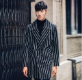 2017 new arrival british style Men's personality black white stripe novelty trench coat fashion slim clothes Men's outwear !