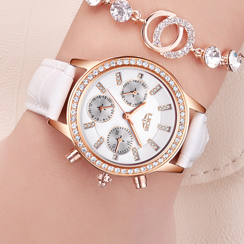 Fashion Women Watch LIGE Luxury Brand Dress Quartz Watch Women Casual Leather Waterproof Ladies Sport Watches Relogio Feminino