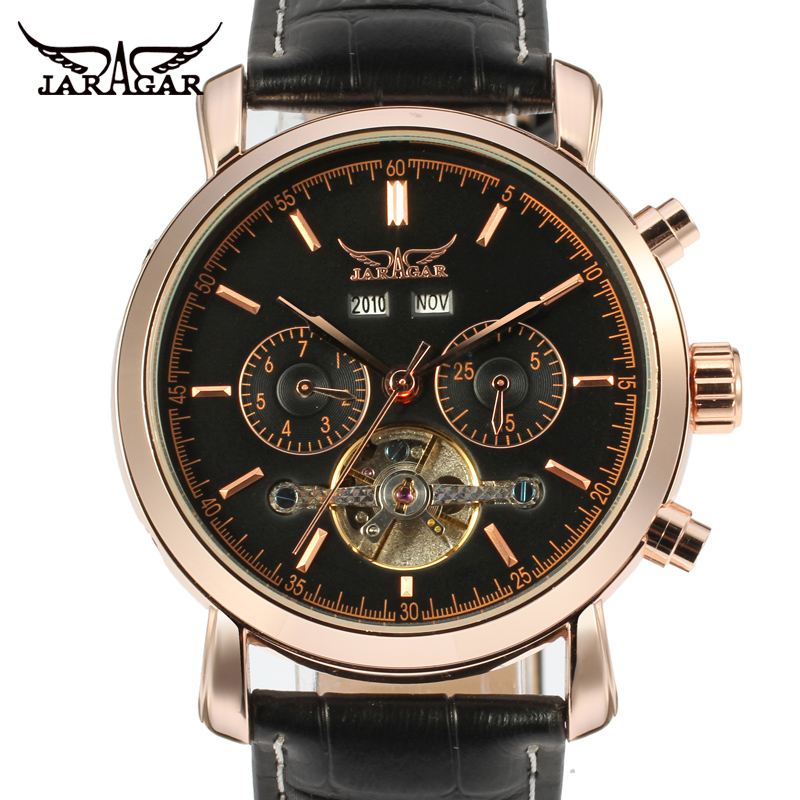 Jaragar Men's Watch Automatic Tourbillon Business Classic Leather Band Calendar Wristwatch Color Black 247 classic leather