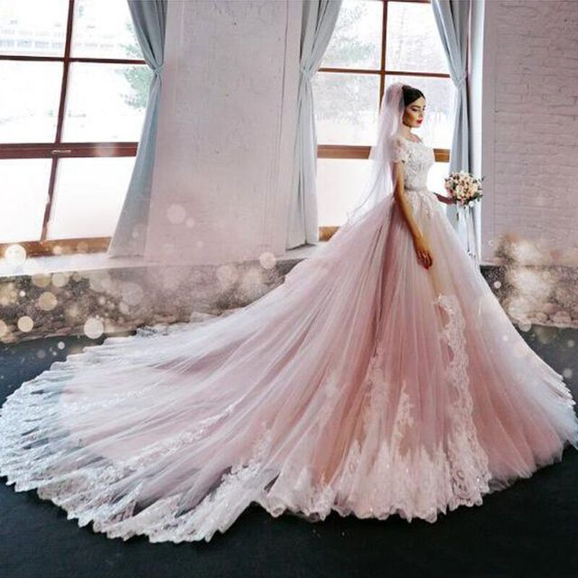 Gorgeous Blush Pink Lace Wedding Dress with Cathedral Train Off the ...