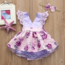 Hot Lace flower girls wedding Birthday dress Toddler Baby Gilrs Sleeveless Lace Ruched Romper Jumpsuit Headband Floral Ouifit